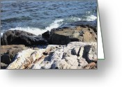 Waves Pyrography Greeting Cards - 2010 NH Seacoast 1 Greeting Card by Robert Morin