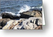 Waves Pyrography Greeting Cards - 2010 NH Seacoast 2 Greeting Card by Robert Morin
