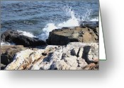 Waves Pyrography Greeting Cards - 2010 NH Seacoast 3 Greeting Card by Robert Morin