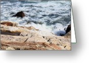 Waves Pyrography Greeting Cards - 2010 NH Seacoast 4 Greeting Card by Robert Morin