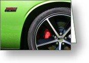 Wheels Greeting Cards - 2011 Dodge Challenger SRT8 392 Hemi Green with Envy Greeting Card by Gordon Dean II