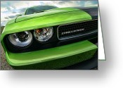 Stripes Greeting Cards - 2011 Dodge Challenger SRT8 Green with Envy Greeting Card by Gordon Dean II