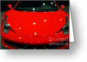 Red Ferrari Greeting Cards - 2011 Ferrari 458 Italia . 7D9396 Greeting Card by Wingsdomain Art and Photography