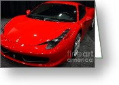 Red Ferrari Greeting Cards - 2011 Ferrari 458 Italia . 7D9397 Greeting Card by Wingsdomain Art and Photography