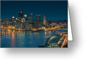 Roberto Greeting Cards - 2011 Supermoon over Pittsburgh Greeting Card by Jennifer Grover