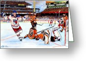 Flyers Drawings Greeting Cards - 2012 Bridgestone-NHL Winter Classic Greeting Card by Dave Olsen