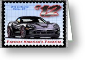 Corvette Gift Drawings Greeting Cards - 2012 Centennial Edition ZR1 Corvette Greeting Card by K Scott Teeters