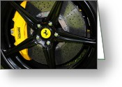 Brake Greeting Cards - 2012 Ferrari 458 Spider brake pad yellow Greeting Card by Paul Ward
