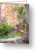 Christmas Pastels Greeting Cards - 21   French Quarter Courtyard with Reflection Pool Greeting Card by John Boles