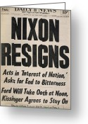 Resignation Greeting Cards - Richard Nixon (1913-1994) Greeting Card by Granger