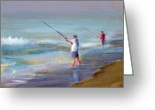 Summer Beach Ocean Greeting Cards - RCNpaintings.com Greeting Card by Chris N Rohrbach