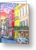 Food Pastels Greeting Cards - 22  Fiery Sunset with Red and Yellow Buildings Greeting Card by John Boles