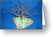Granite Sculpture Greeting Cards - 24 gauge copper Wire Tree by the Beach Greeting Card by Serendipity Pastiche