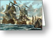 Warship Greeting Cards - Spanish Armada (1588) Greeting Card by Granger