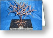 Granite Sculpture Greeting Cards - 24g copper Wire Tree on a Black Marble or Granite Slab Greeting Card by Serendipity Pastiche