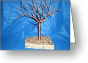 Granite Sculpture Greeting Cards - 24g copper Wire Tree on a Gray and Black Marble Greeting Card by Serendipity Pastiche