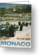 City Streets Greeting Cards - 24th Monaco Grand Prix 1966 Greeting Card by Nomad Art And  Design