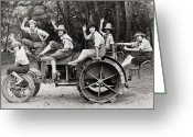 Overalls Greeting Cards - Silent Film: Automobiles Greeting Card by Granger