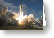 Taking Off Greeting Cards - Space Shuttle Atlantis Lifts Greeting Card by Stocktrek Images