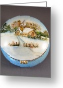 Trees Ceramics Greeting Cards - 252 Mirror-box with  winter scene Greeting Card by Wilma Manhardt