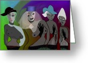 Glove Digital Art Greeting Cards - 255 - Crazy Party Women Greeting Card by Irmgard Schoendorf Welch