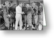 Handshake Greeting Cards - Silent Film Still: Sports Greeting Card by Granger