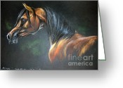 Horse Portrait Pastels Greeting Cards - Arabian Horse  Greeting Card by Angel  Tarantella