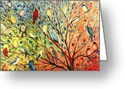 Peach Greeting Cards - 27 Birds Greeting Card by Jennifer Lommers