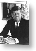 President Kennedy Greeting Cards - John F Kennedy (1917-1963) Greeting Card by Granger