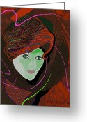 Young Lady Greeting Cards - 289 - Anna  with  dark red cap Greeting Card by Irmgard Schoendorf Welch