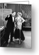 Tuxedo Greeting Cards - Silent Still: Man & Woman Greeting Card by Granger
