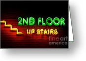 2nd Greeting Cards - 2nd Floor Upstairs Neon Greeting Card by Dean Harte