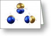 Quantum Mechanics Greeting Cards - 2p Electron Orbitals Greeting Card by Dr Mark J. Winter