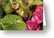 Rose Petals Greeting Cards - A Close-up Of A Bouquet Of Flowers Greeting Card by Nicholas Eveleigh