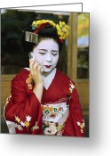 Hairstyles Greeting Cards - A Kimono-clad Geisha Talks On A Cell Greeting Card by Justin Guariglia