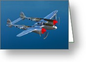 Vintage Aircraft Greeting Cards - A Lockheed P-38 Lightning Fighter Greeting Card by Scott Germain