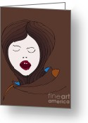 Brown Drawings Greeting Cards - A Woman Greeting Card by Frank Tschakert