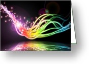 Surface Greeting Cards - Abstract Lighting Effect  Greeting Card by Setsiri Silapasuwanchai