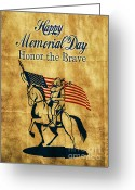 Illustration Greeting Cards - American cavalry soldier Greeting Card by Aloysius Patrimonio