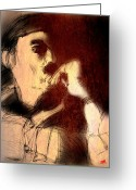 Hand On Chin Greeting Cards - Andrei Tarkovsky Greeting Card by Dan Marquart