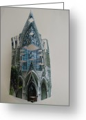 Pittsburgh Sculpture Greeting Cards - Architecture Reconstruction Greeting Card by Alfred Ng
