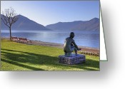 Park Benches Greeting Cards - Ascona - Lake Maggiore Greeting Card by Joana Kruse