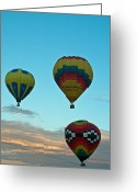 Balloon Fiesta Greeting Cards - 3 at Dawn Greeting Card by Jim Chamberlain