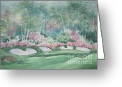 Deb Ronglien Watercolor Greeting Cards - Augusta National 13th Hole Greeting Card by Deborah Ronglien