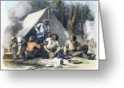Encampment Greeting Cards - Australian Gold Rush, 1851 Greeting Card by Granger