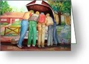 Mechanics Painting Greeting Cards - Backyard Mechanics Greeting Card by AnnE Dentler