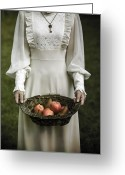 Peasant Greeting Cards - Basket With Fruits Greeting Card by Joana Kruse