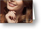 Hair-style Greeting Cards - Beautiful Young Smiling Woman Greeting Card by Oleksiy Maksymenko