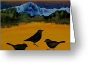 Blue Tapestries - Textiles Greeting Cards - 3 Blackbirds Greeting Card by Carolyn Doe