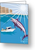 Jumping Digital Art Greeting Cards - Blue Marlin Fish Jumping Retro Greeting Card by Aloysius Patrimonio